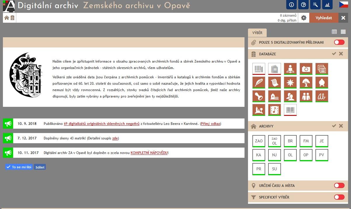Digitální archiv Zemského archivu v Opavě